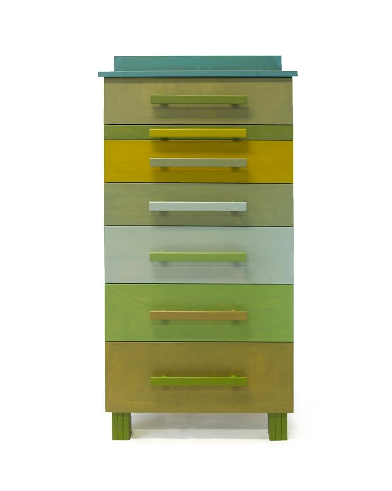 Kast met negen kleuren groentinten sandra catsburg meubels - Uitschuifbare kast ...