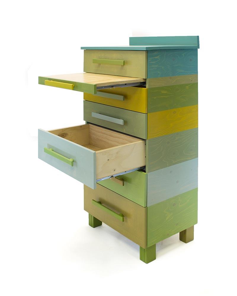 Kast met negen kleuren groentinten - Uitschuifbare kast ...
