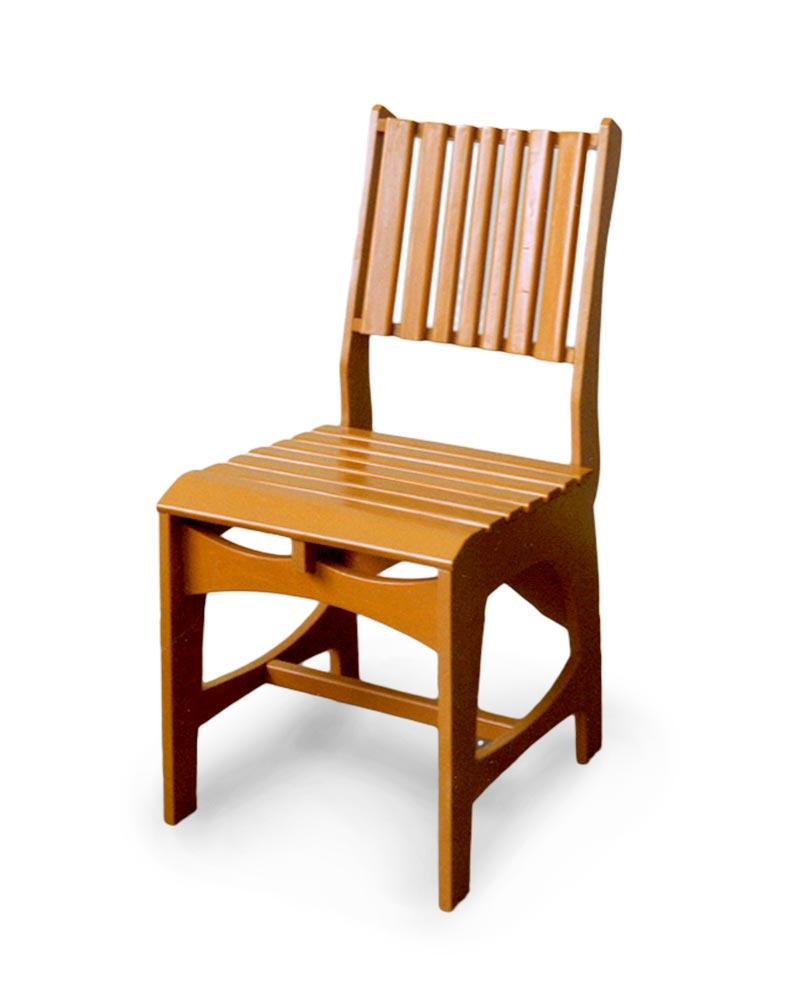 Stoel van multiplex met latten - Houten tafel en stoel ...